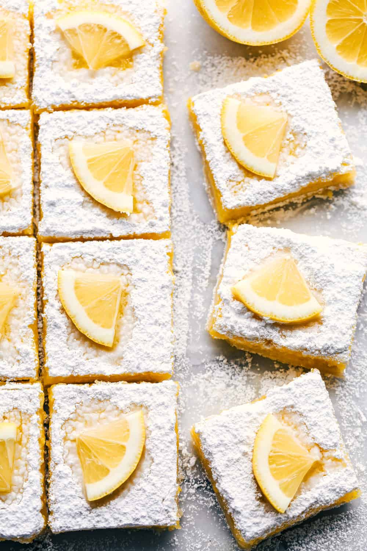 Lemon bars cut into squares.
