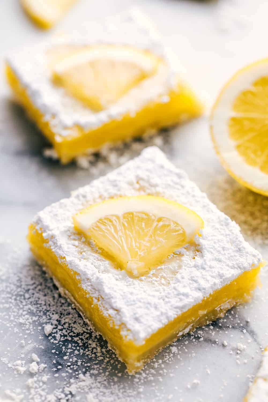 Perfect Lemon Bar close up.