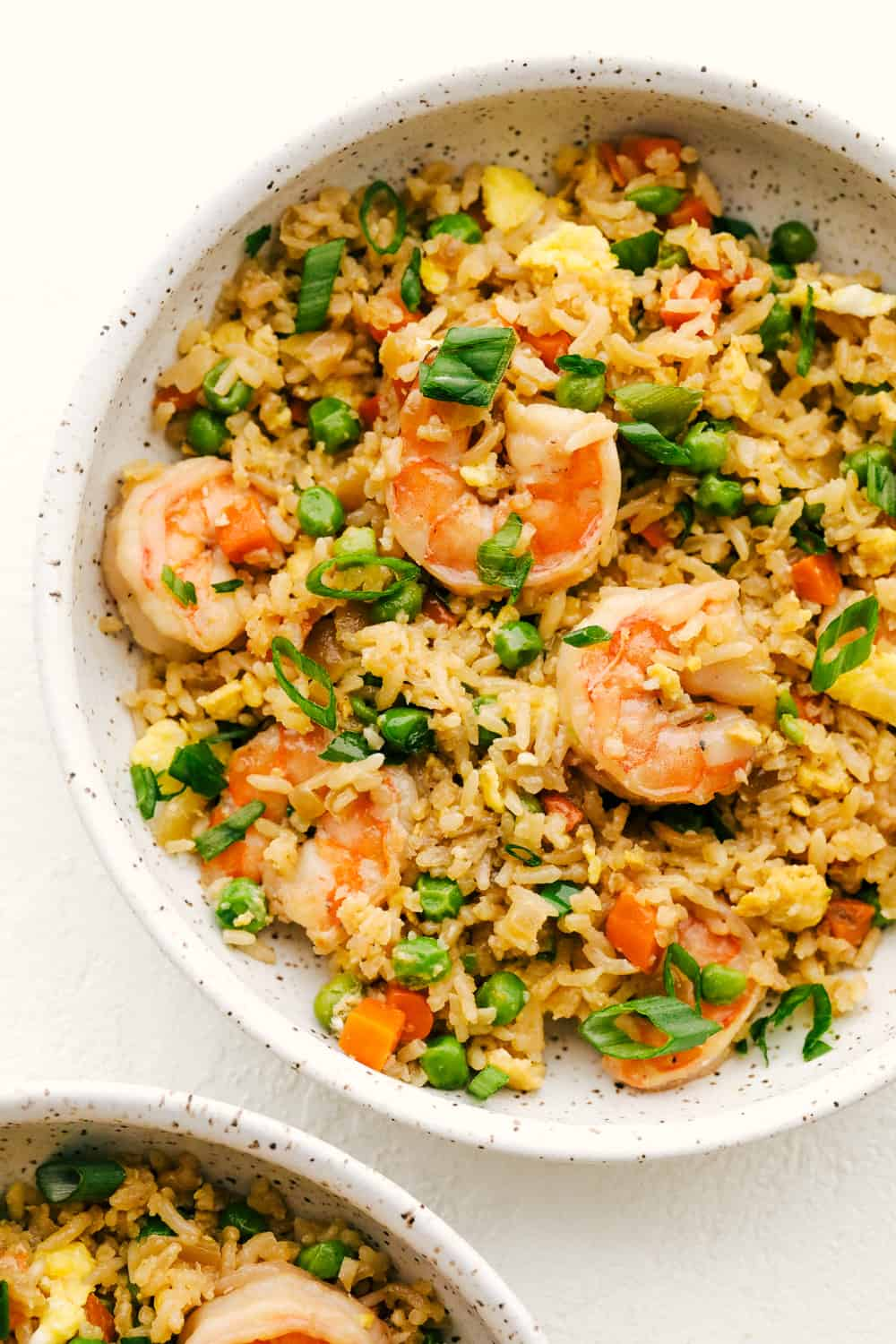 Shrimp fried rice in a bowl.