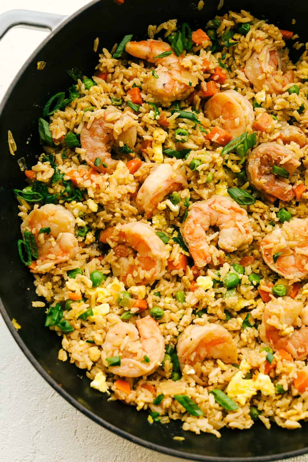 Close up of Shrimp fried rice in a pan.