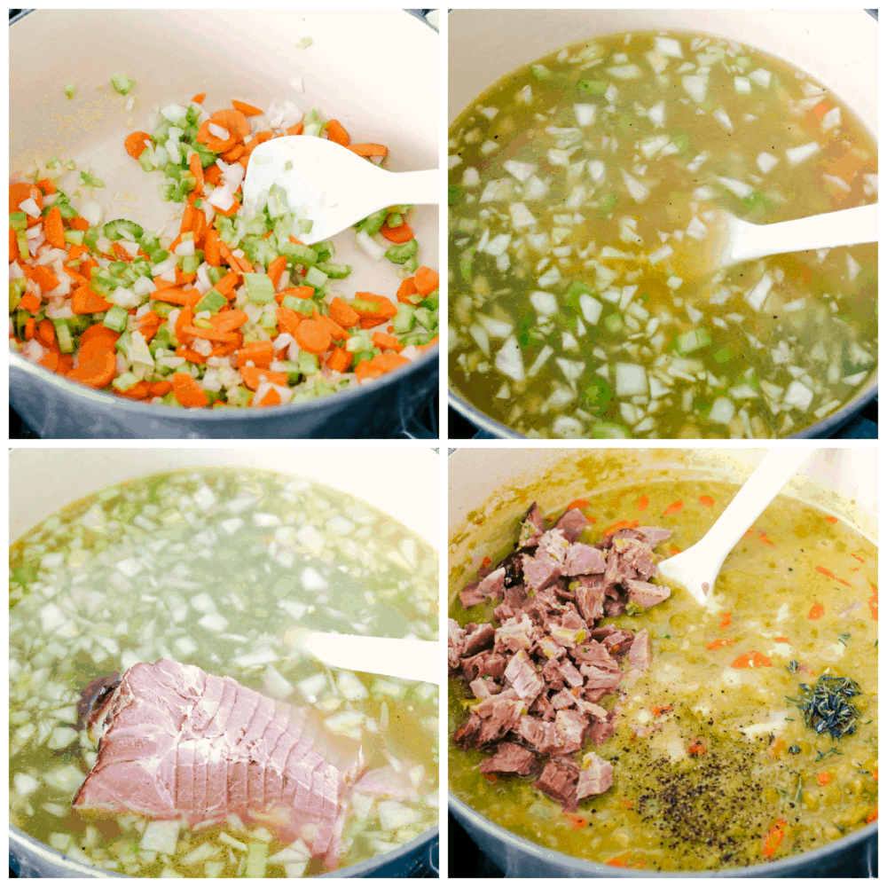 Sauteing vegetables, cooking the ham bone and stirring in ham for spit pea soup.