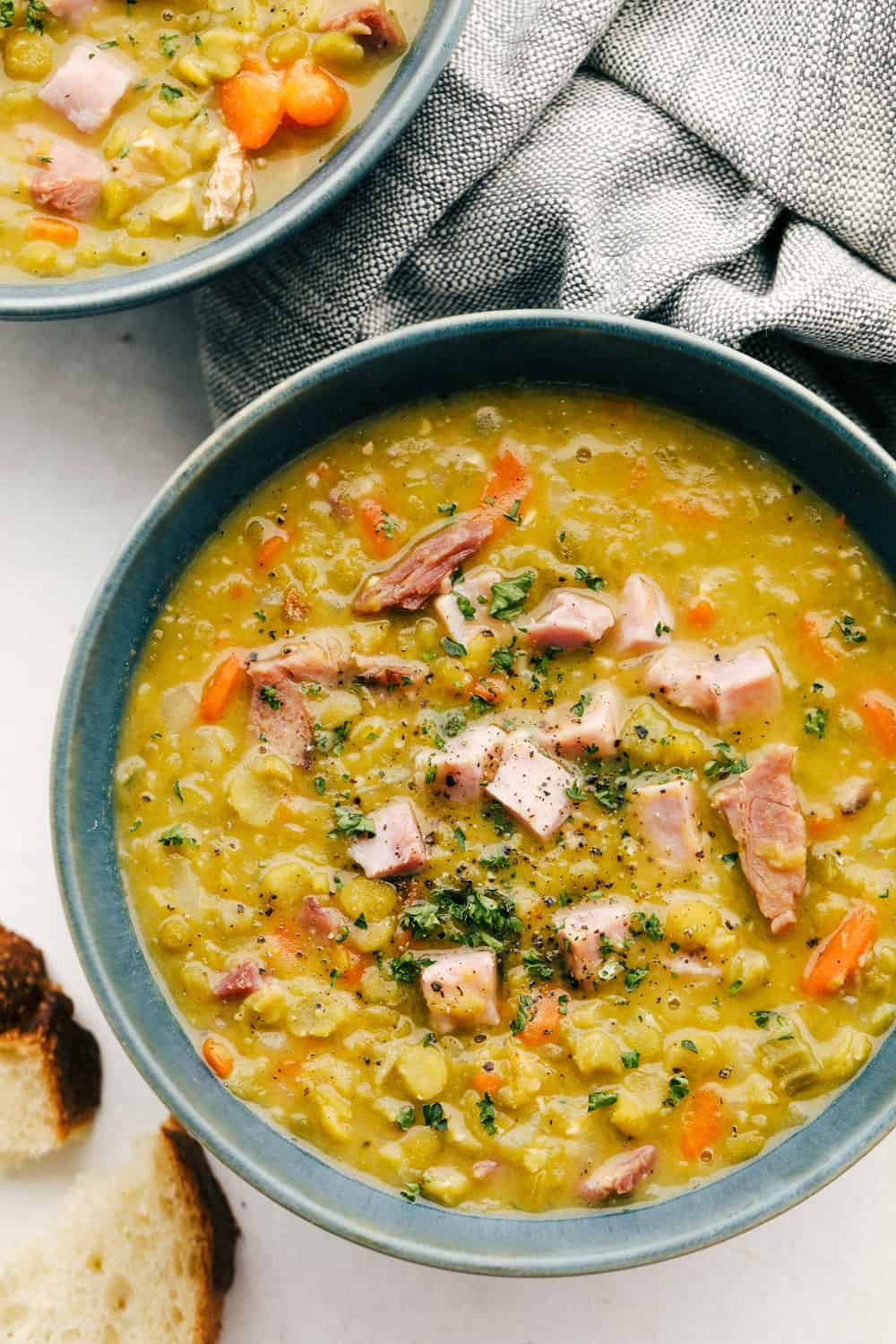 Homemade Split pea soup with ham in a bowl.