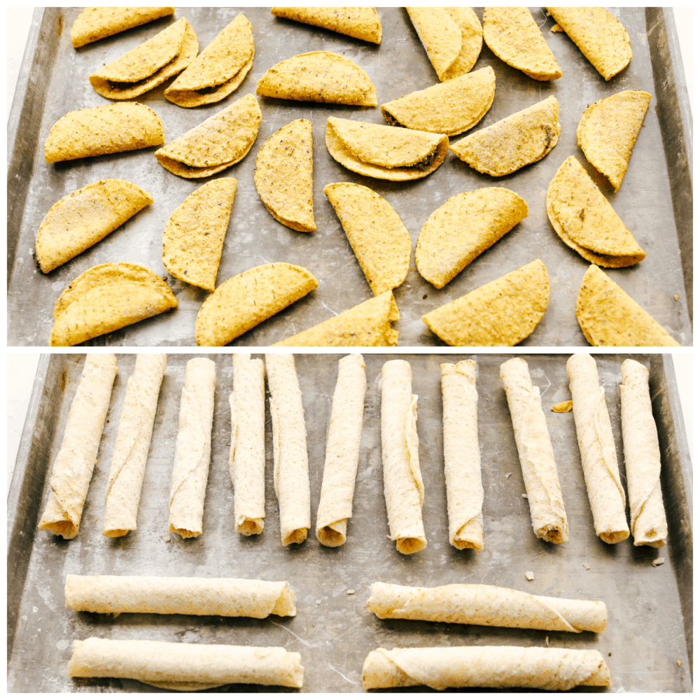 Two photos of sheet pans with frozen tacos and frozen taquitos.