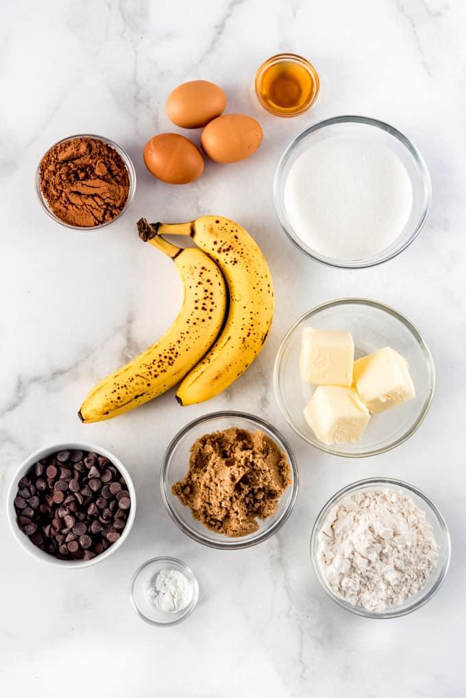 Banana Bread Brownie ingredients.
