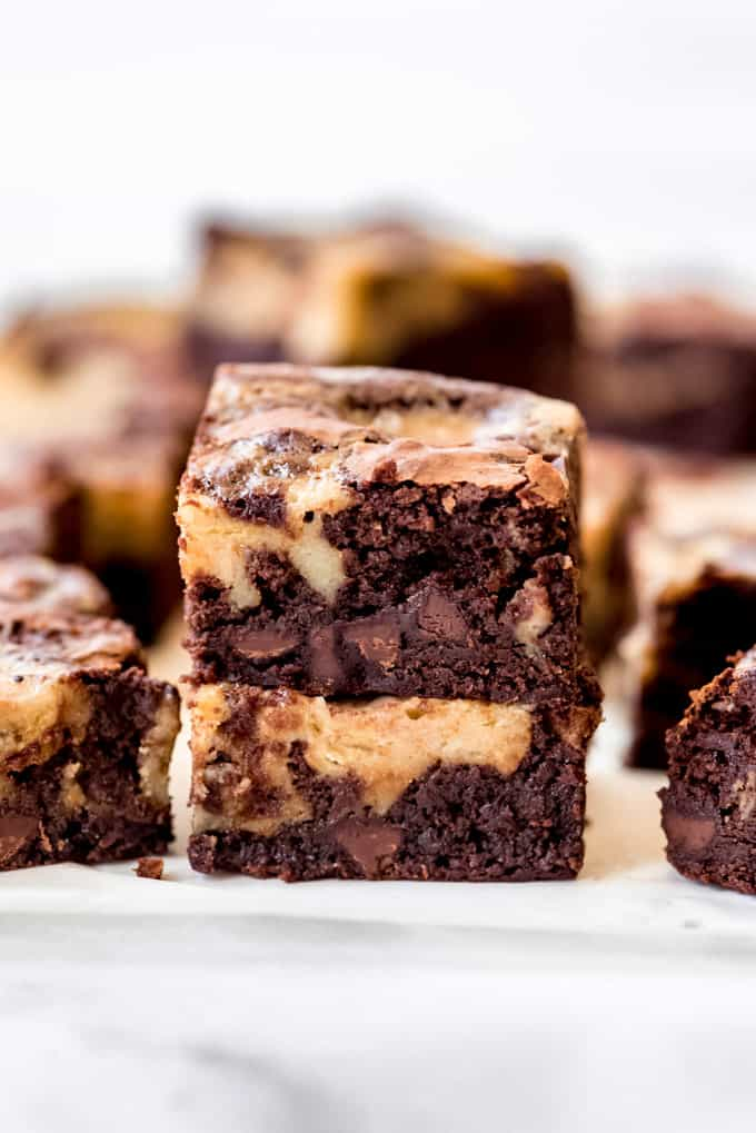 Banana bread brownies stacked on top of each other.