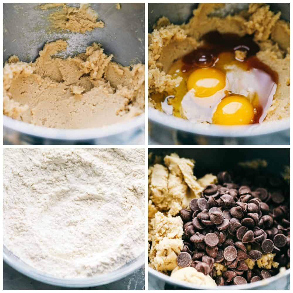 Ingredients for making chocolate chip cookies.