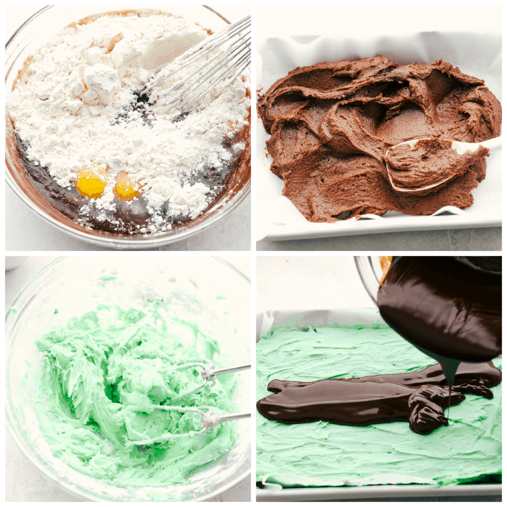 Making the brownies, mint filling and chocolate frosting.