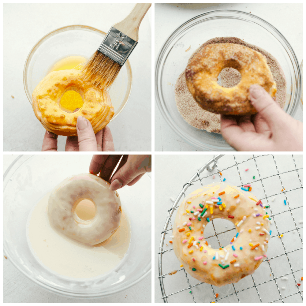 Brushing butter and cinnamon sugar or glaze and sprinkles on donuts.