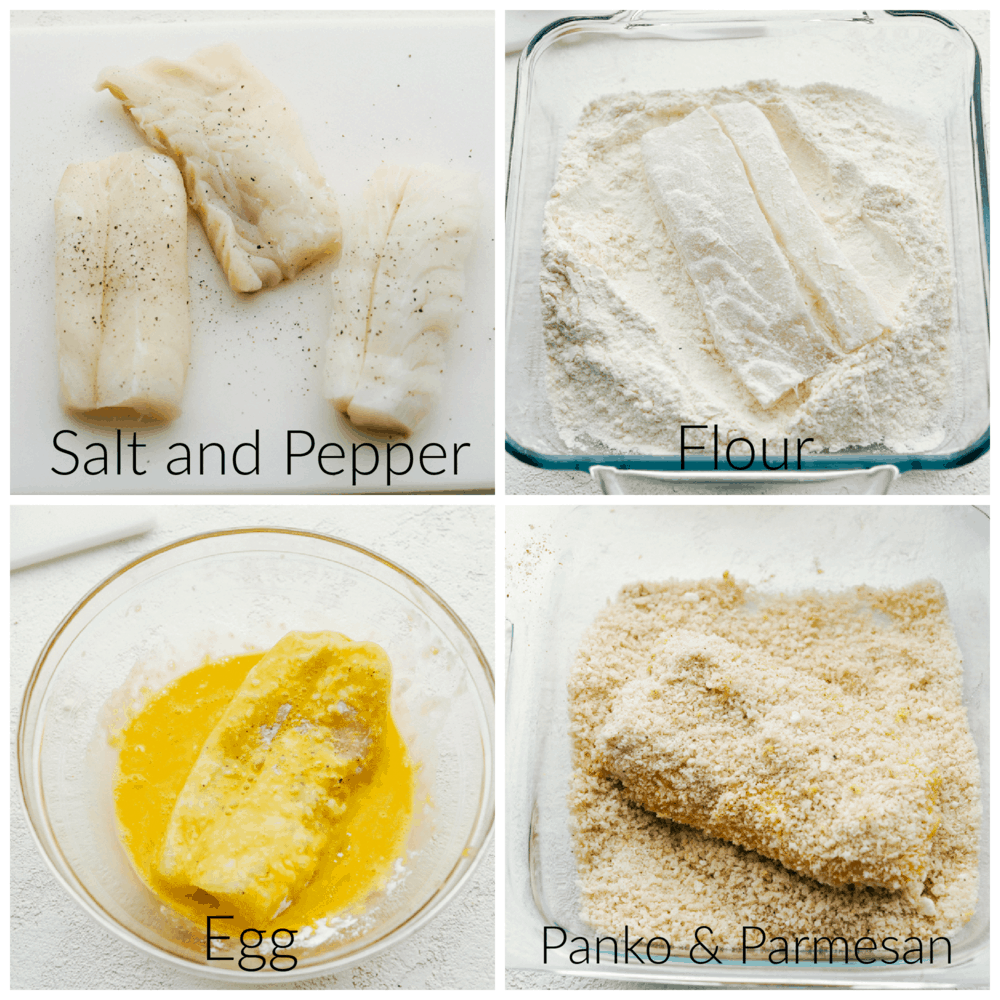 Seasoning, and breading the cod.
