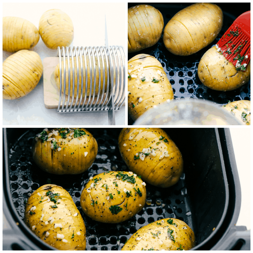 Preparing potatoes for the air fryer with butter, herbs and salt.