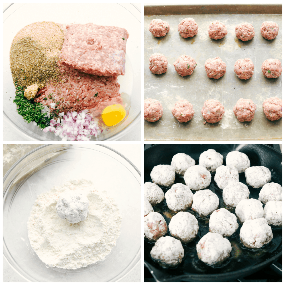 Making the meatballs, rolling it in flour and frying in oil.
