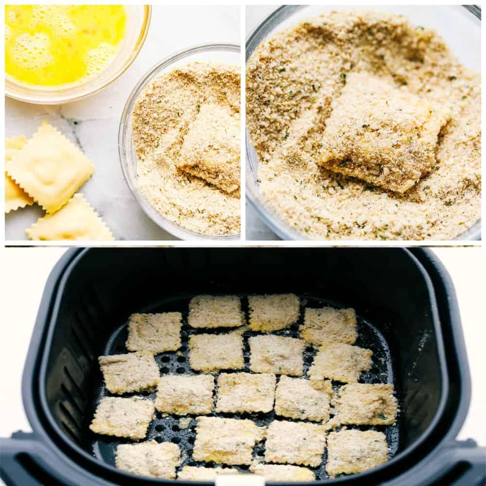 Seasoning ravioli and placing it in the air fryer.