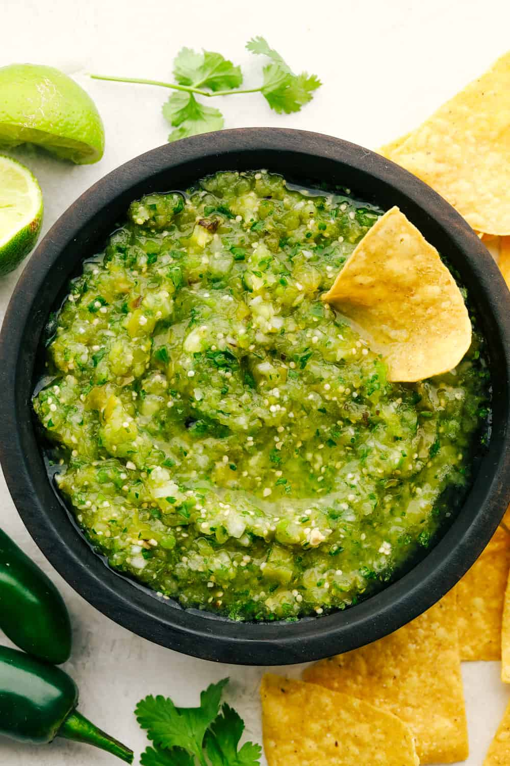 Fresh homemade salsa verde.