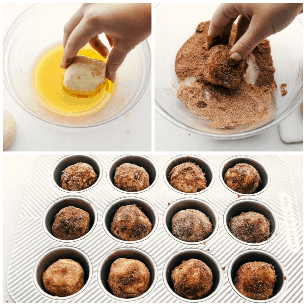 Dipping the roll in butter and cinnamon sugar and placing in muffin tin.