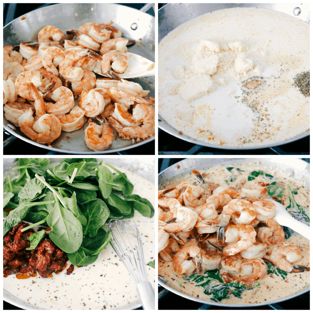Sauteing the shrimp, making the cream sauce and adding the ingredients all together.