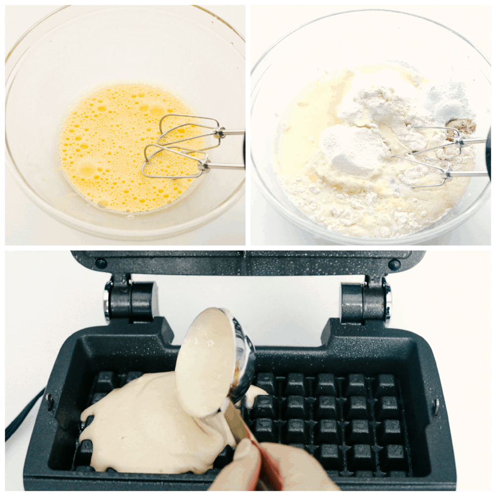Mixing the wet and the dry ingredients, pouring the batter in a waffle iron.