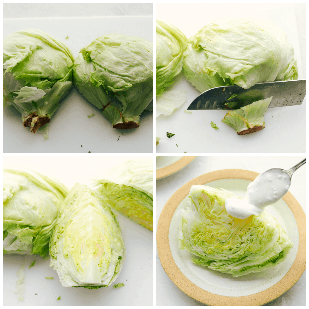 How to cut iceberg lettuce into wedges.