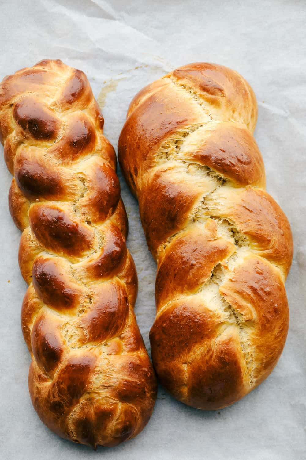 Baked six and three strand braided challah.