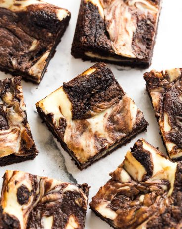 cream cheese brownies sliced