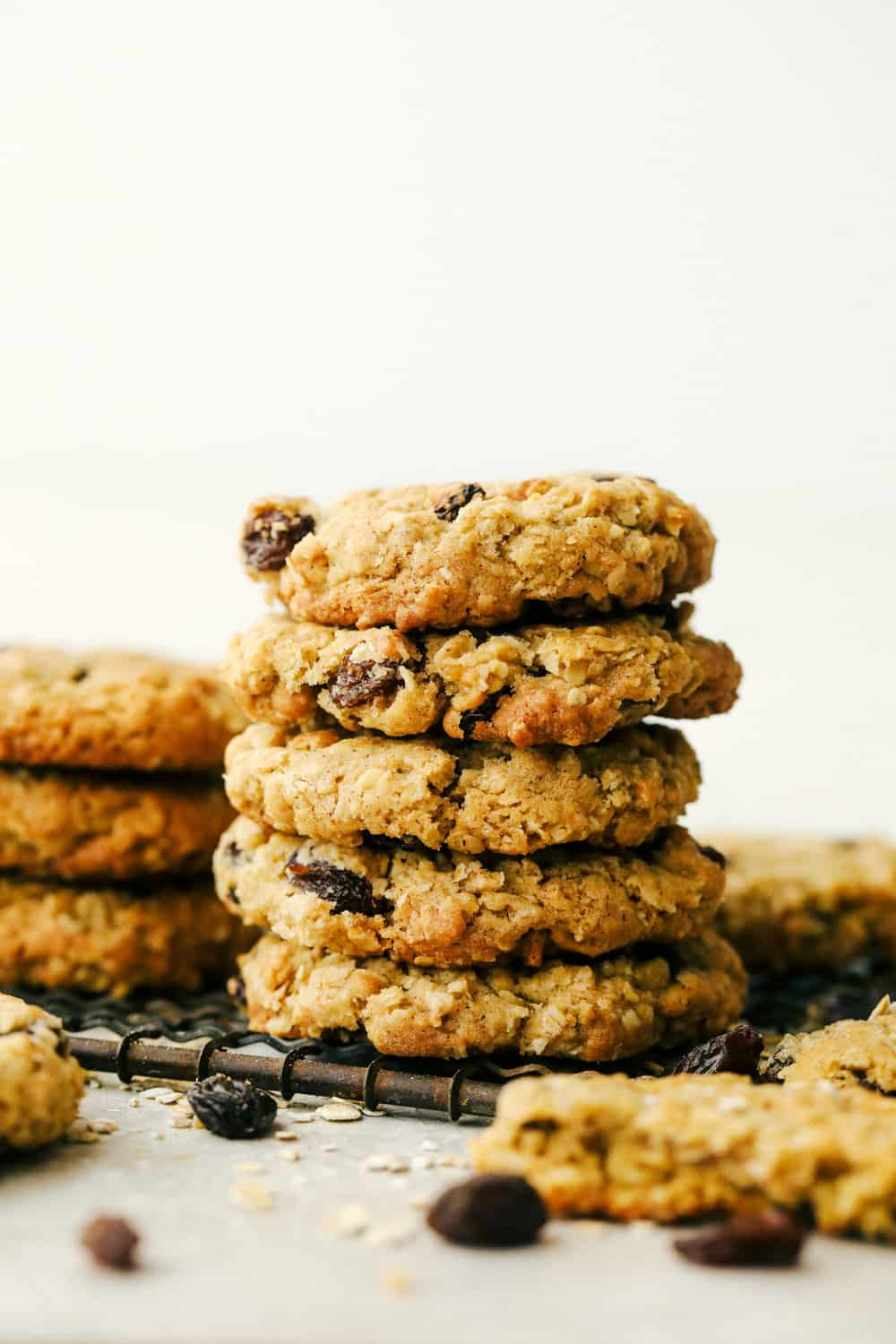 A stack of oatmeal cookies ready to eat.