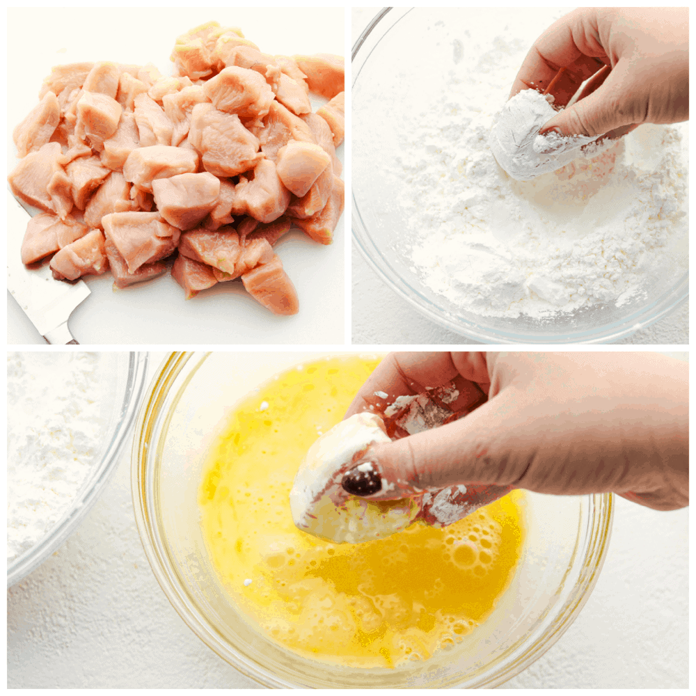 Cut up chicken, breading it and dipping it in egg mixture.