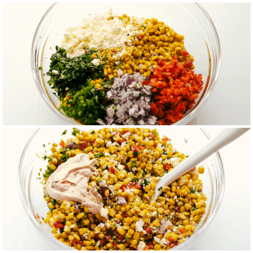 The ingredients for the salad in sections in a glass bowl, and stirring in the dressing.