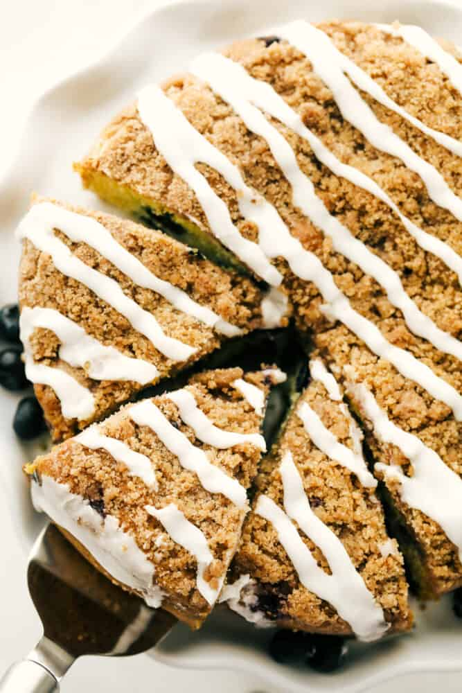 Slices of baked blueberry crumb cake.