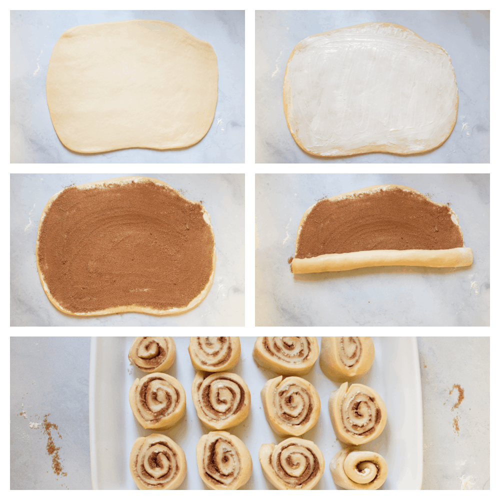 Rolling out the dough, spreading with butter and topping with cinnamon and sugar, rolling it into rolls.
