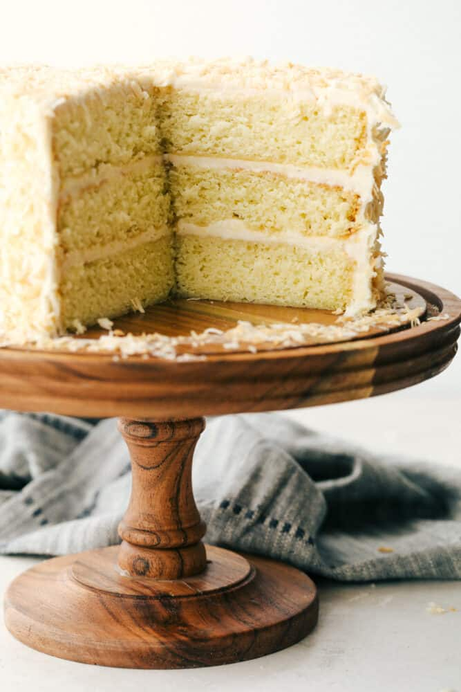 Sliced coconut cake, you can see all the layers.