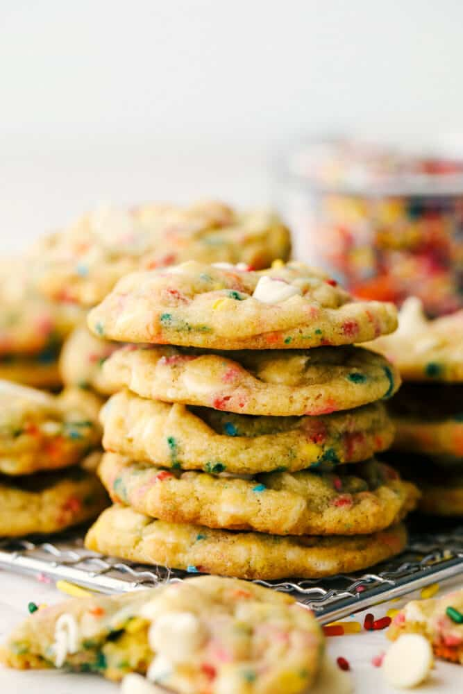 Stacks of Cookies on a cooling rack.