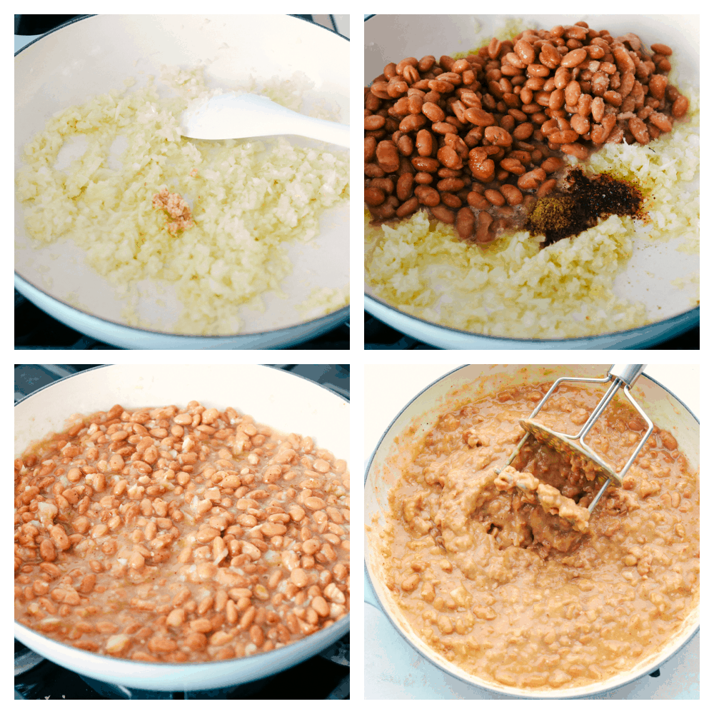 Sauteing onions, beans and spices and mashing them to eat.