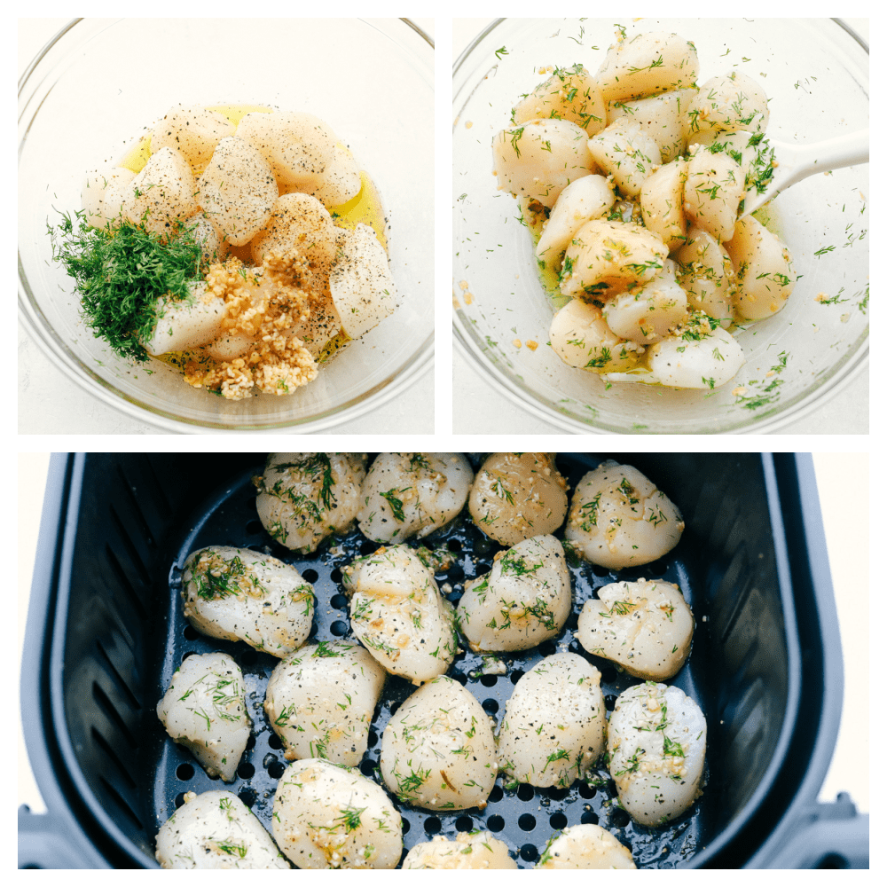 Mixing the seasonings together with the scallops and placing them in an air fryer.