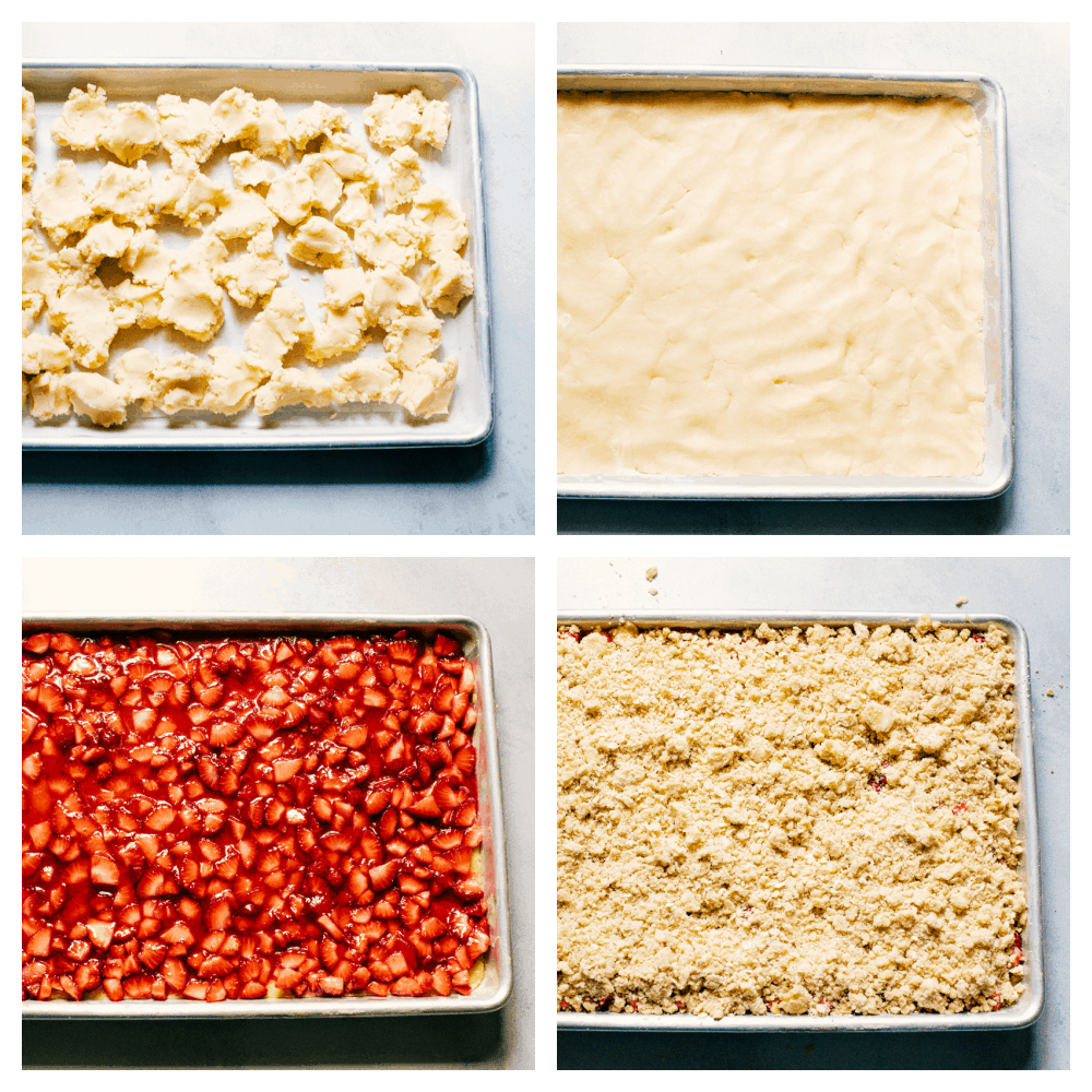 Four photos of the process of making strawberry streusel bars.