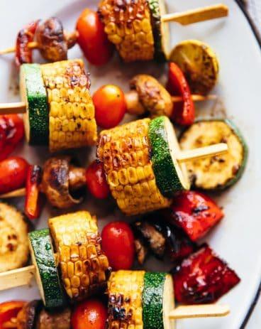Grilled vegetable kabobs served on a platter