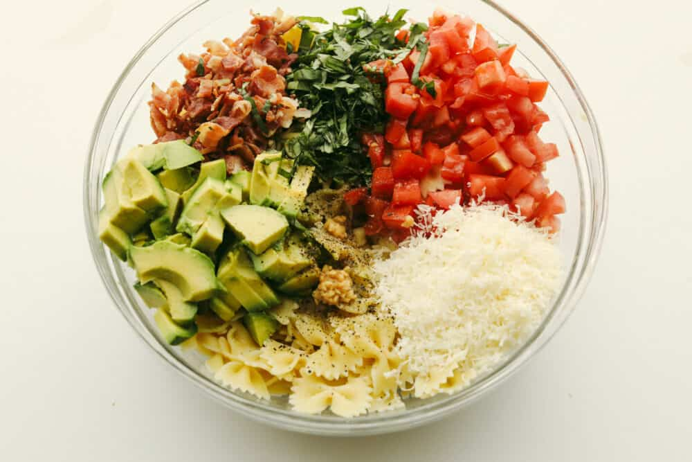 All Ingredients in a large glass bowl.