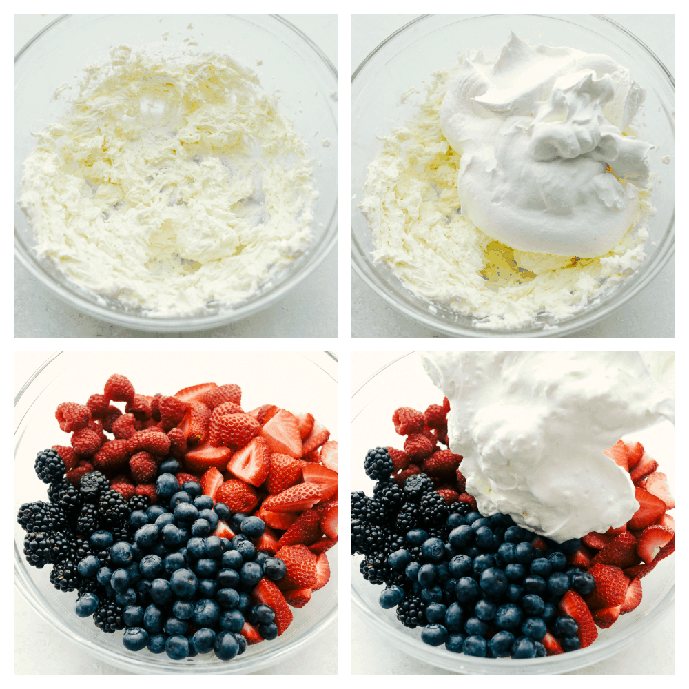 Cream cheese and whipped topping being mixed then adding it to the berries.