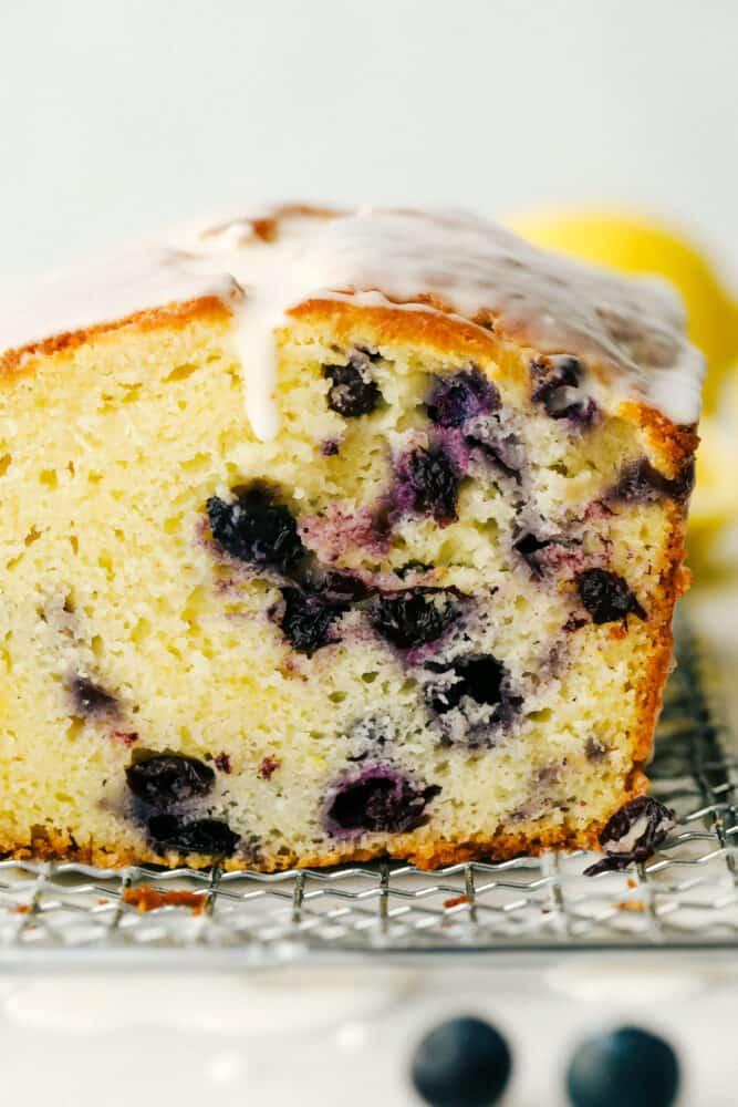 The cross section of the blueberry lemon cake.