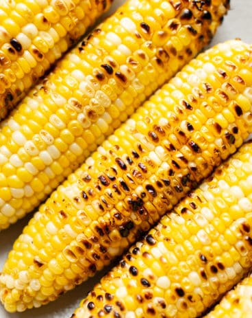close-up of grilled corn