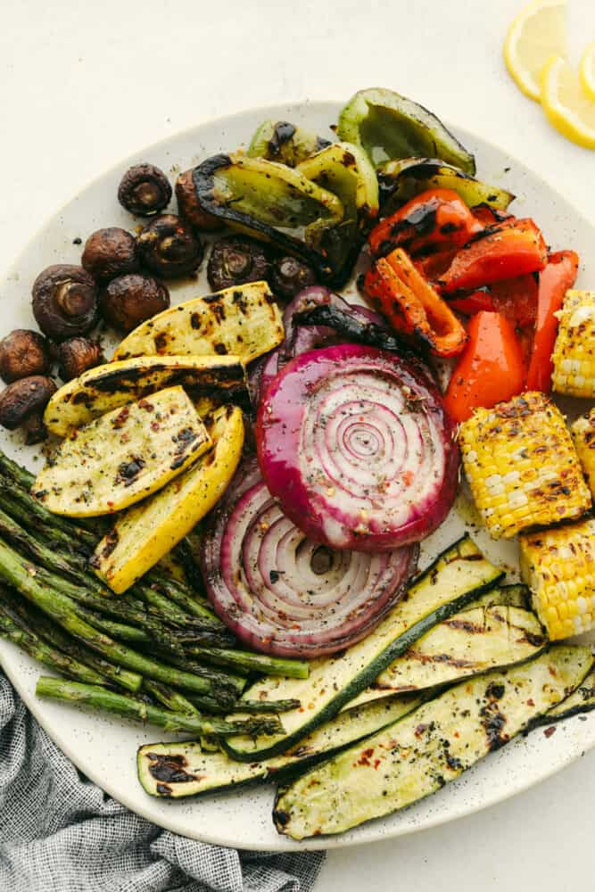Variety of grilled vegetables on serving dish.