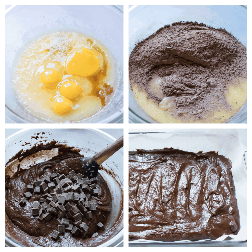 Mixing the wet ingredients, then the dry, then altogether and putting the batter in the pan.