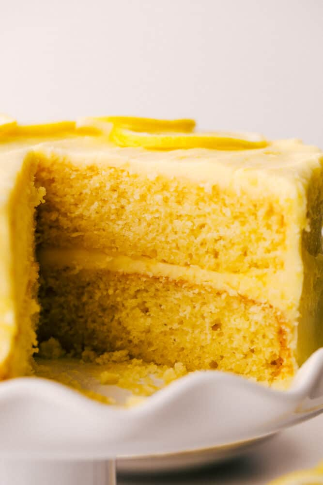 Lemon cake with layers and lemon frosting.