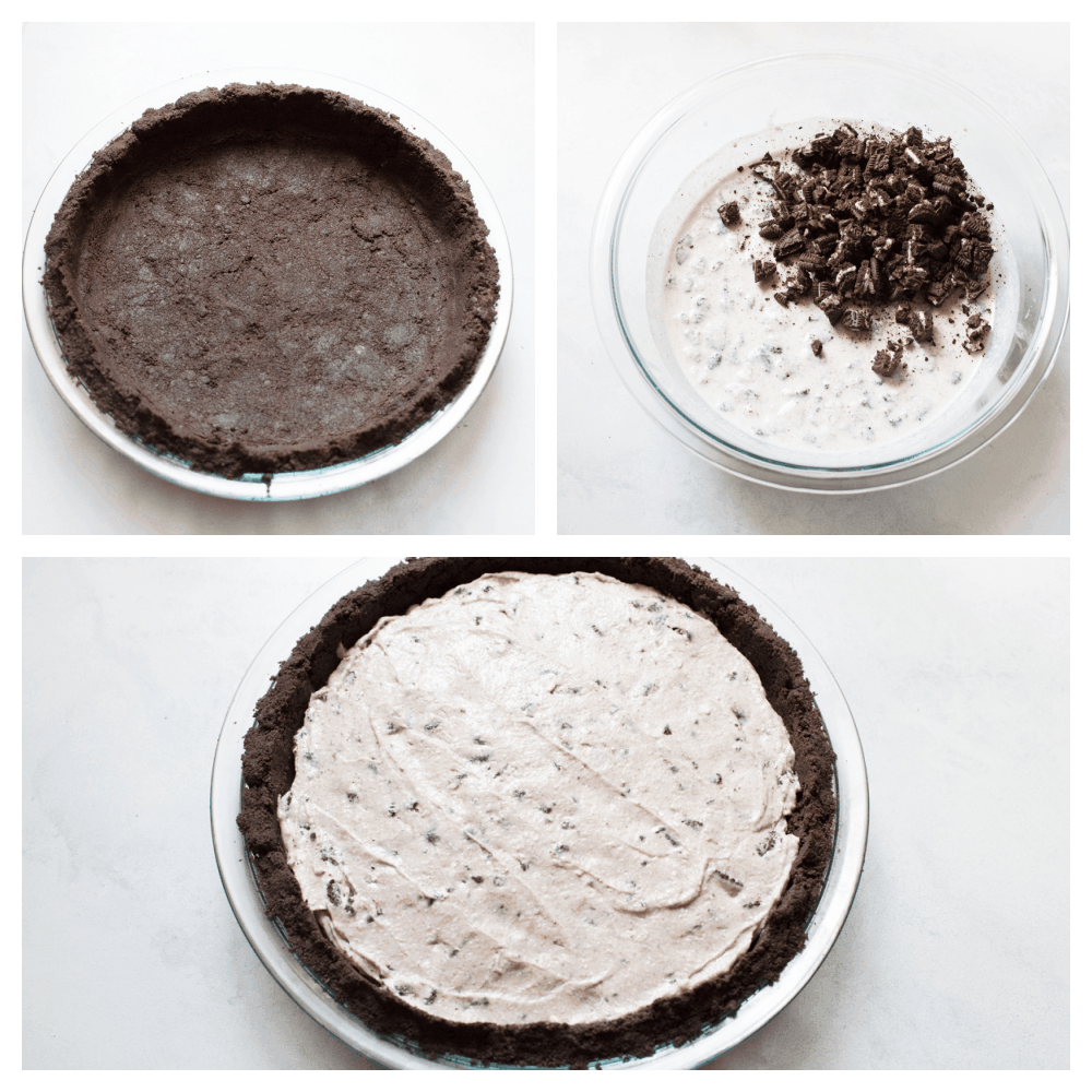 The oreo crust, pudding filling with extra oreos and the finished pie.