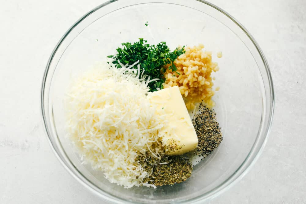 A bowl with the spread ingredients ready to mix.