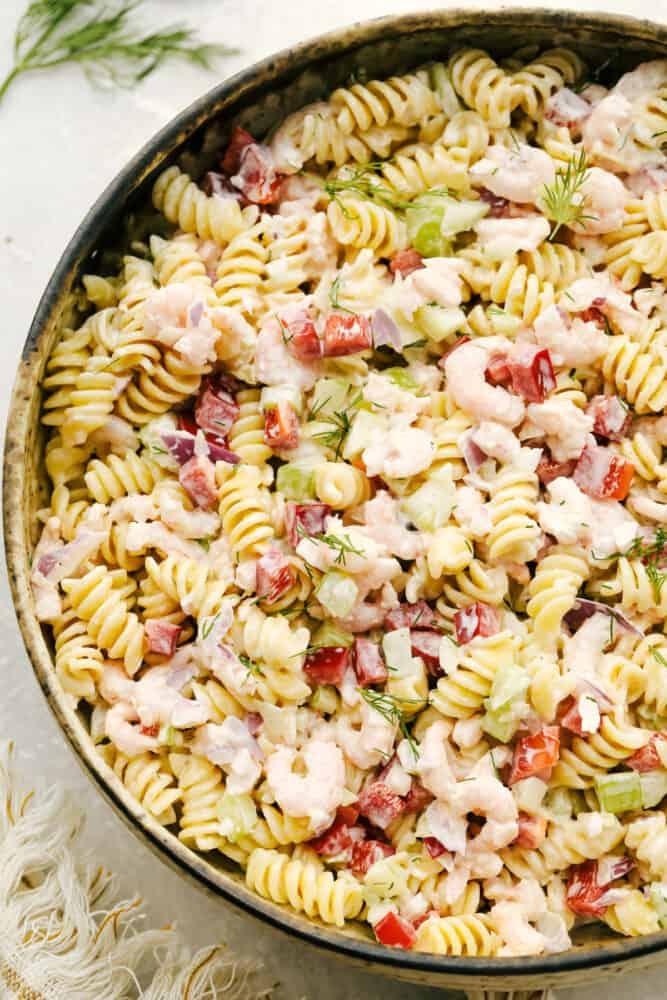Shrimp pasta salad in serving bowl