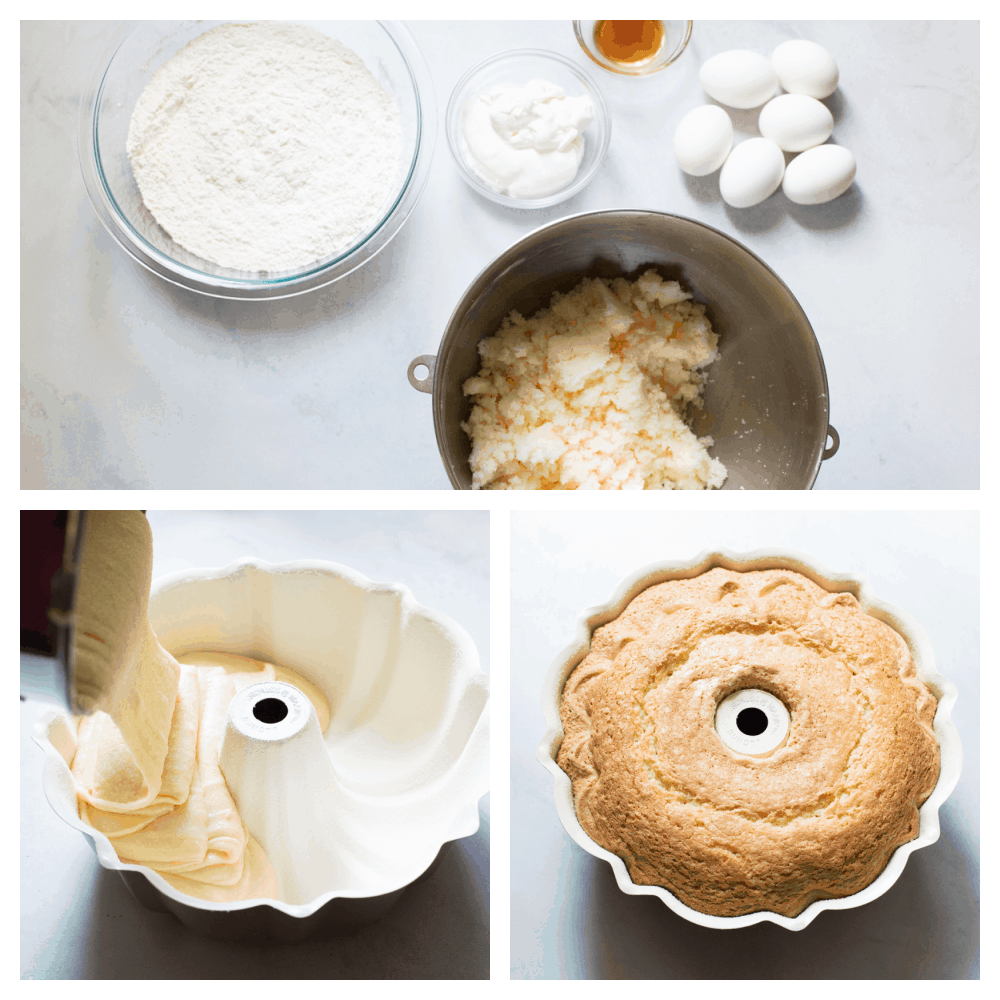 The ingredients needed, pouring the batter and a baked sour cream pound cake.