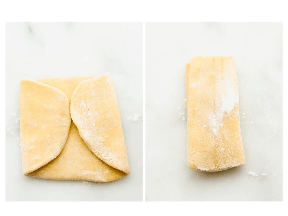Folding the dough to get a good rectangle shape.