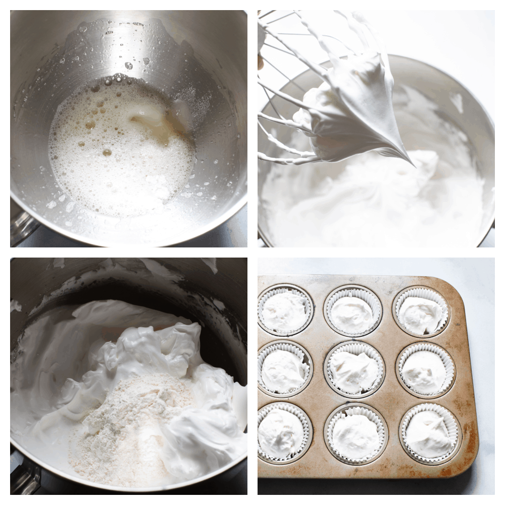 The process of making angel food cupcakes.