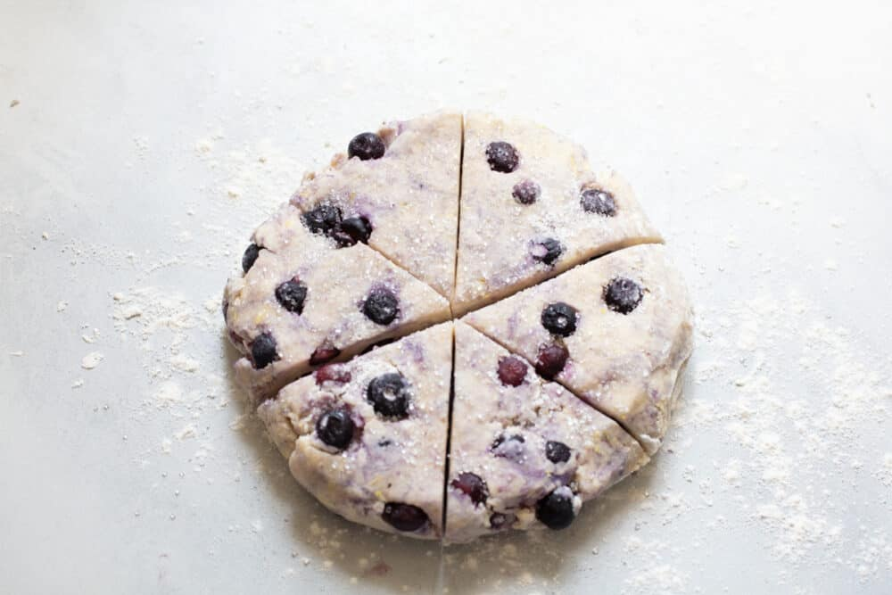 Uncooked Blueberry Scones ready for baking.