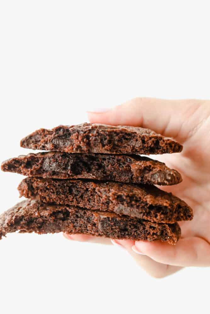 Stack of 4 brownie cookies.
