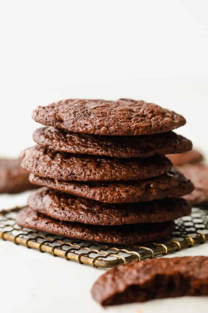 Stack of brownie cookies.